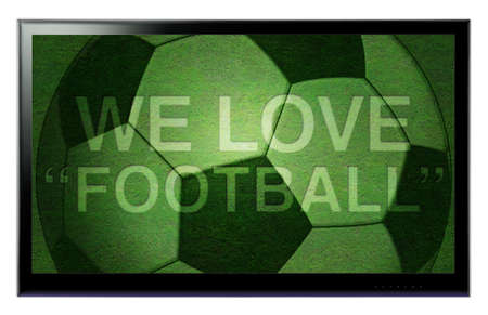 HDTV screen with text We love football hanging on a wall
