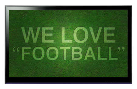 3D HDTV We love football hanging on a wall Stock Photo