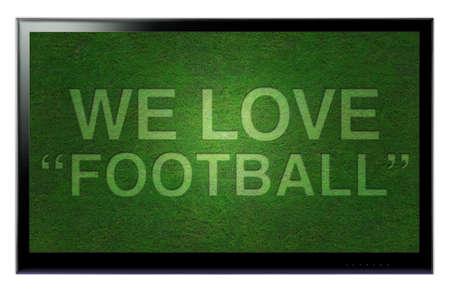 3D TVHD nous love football accroché un mur Banque d'images