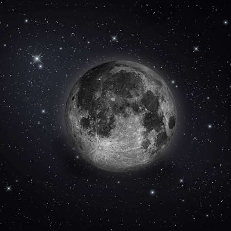 Full moon with stars in the night sky