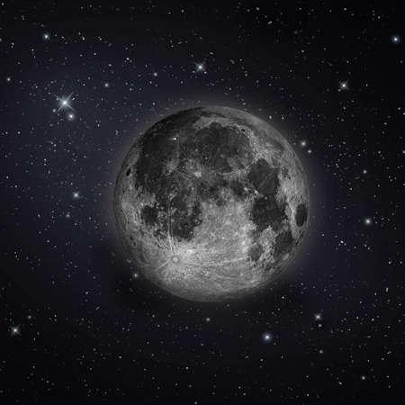 Pleine lune avec des étoiles dans le ciel nocturne