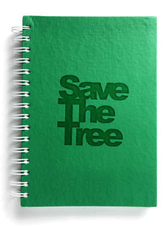 Green notebook with text save the tree photo