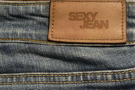 Blank jeans leather label photo