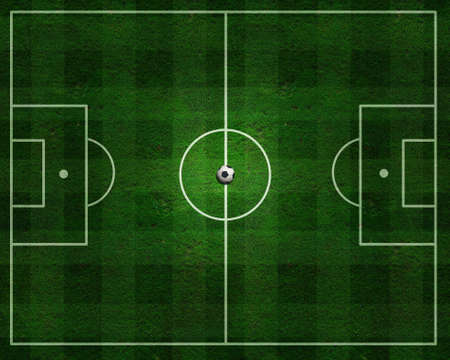 field goal: Top view of a soccer field with a soccer ball