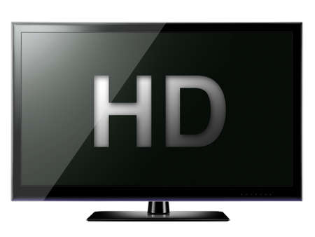 HD TV isolated on white background Stock Photo