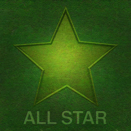 All star on green grass background