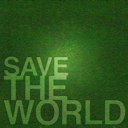 Save the world on green grass background Standard-Bild