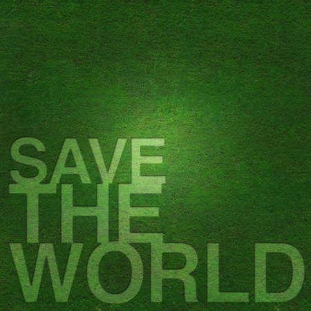 Sauvez le monde sur fond d'herbe verte Banque d'images