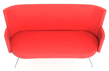 Red sofa isolated on white background photo