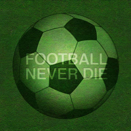 Green grass texture with football never die photo
