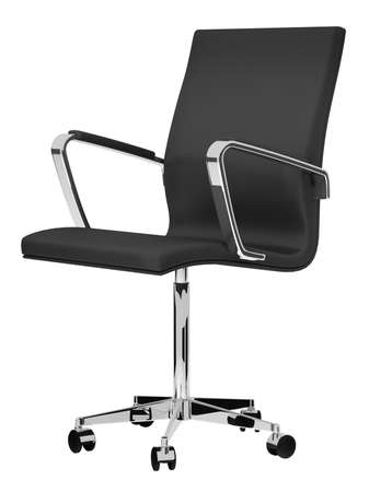 Black office chair on white background