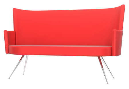 Red sofa on white background Stock Photo - 10298342