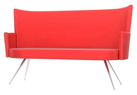 Red sofa on white background Stock Photo - 10298342