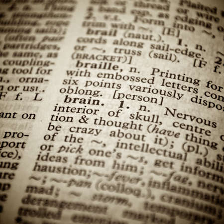 Selective focus on the word Brain