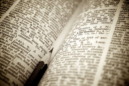 Pencil as bookmark in a dictionary