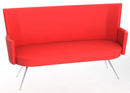 Red modern sofa isolated over white background