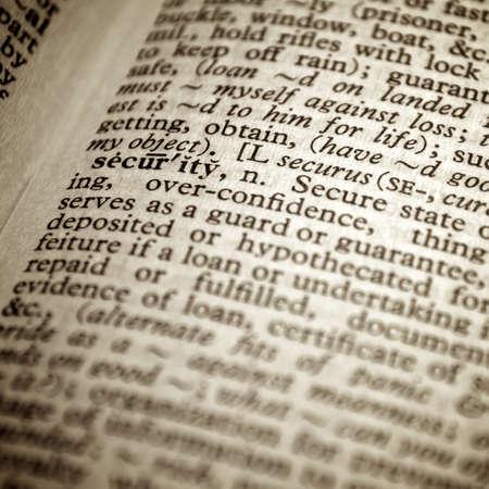Definition des Wortes Sicherheit in einem W�rterbuch