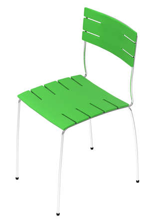 Green modern chair isolated over white background
