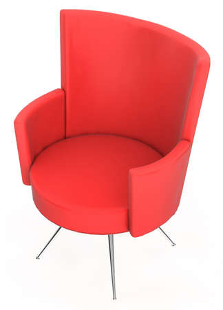 Red modern chair isolated over white background