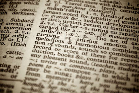 Selective focus on the word music