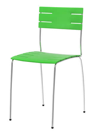 Green chair isolated over white background Banque d'images