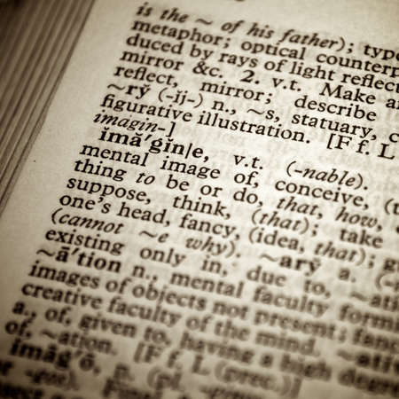 Dictionary definition of the word imagine in English