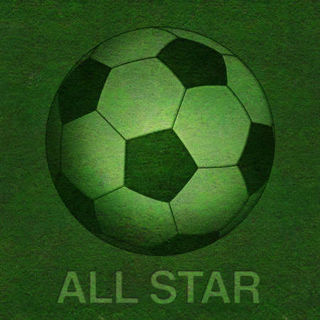 Green grass background with football Stock Photo - 11516913