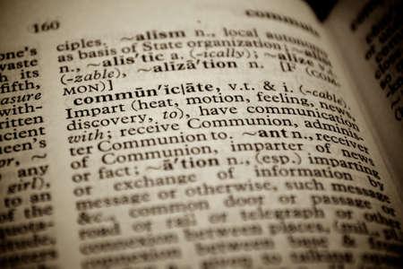 noun: Selective focus on the word communicate.