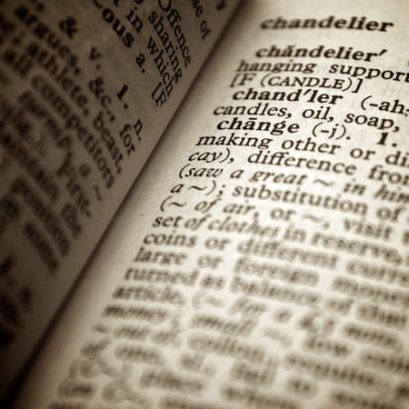Change definition in old dictionary Stock Photo