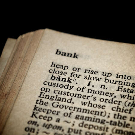 Bank definition in old dictionary Stock Photo - 11979601