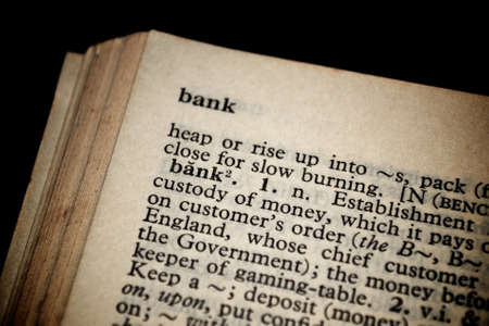 Bank definition in old dictionary Stock Photo - 11979602