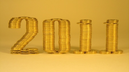 two thousand eleven years folded of the stacks of coins Stock Photo - 8431376