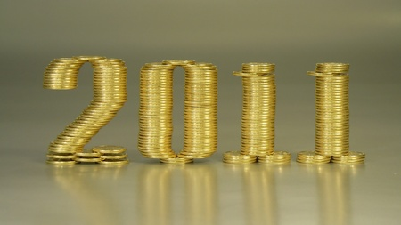 two thousand eleven years folded of the stacks of coins Stock Photo - 8431373