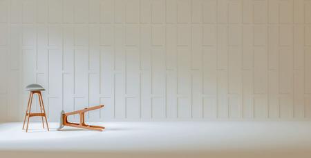 Tallado tailandés tabique de madera pared blanca 3d prestación