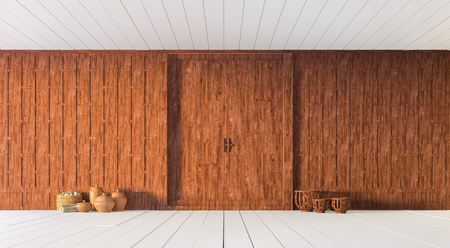 wooden partition: Thai carved wooden partition wall 3d rendering