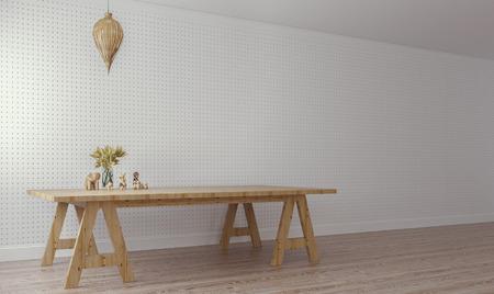 pegboard: Modern & Loft Living  Working  3D Render Image Stock Photo