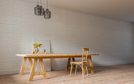 Modern & Loft Living  Working  3D Render Image Stock Photo