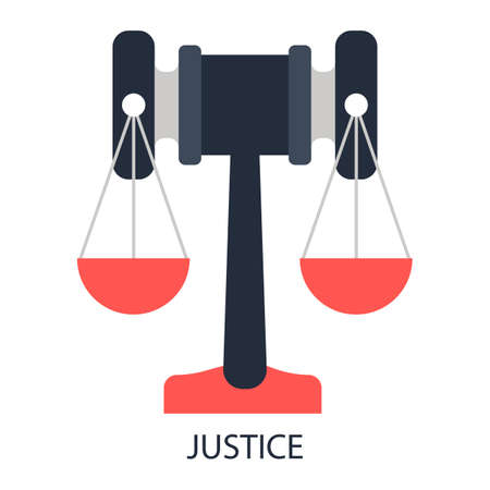 arbitrate: Main simbols of justice - gavel and scales. Illustration
