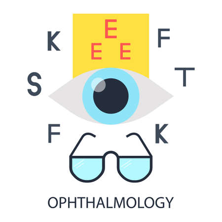optometrist: Healthy eye, glasses and an optometrist chart on background. Illustration