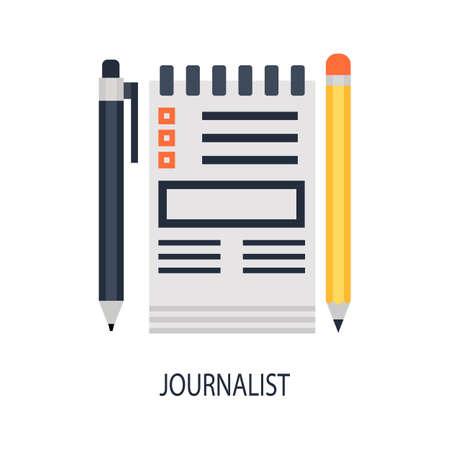 journalism: illustration of journalism flat design concept. Illustration