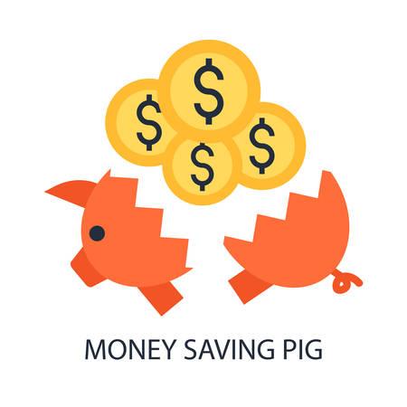 money box: Broken pig money box with coins. Illustration