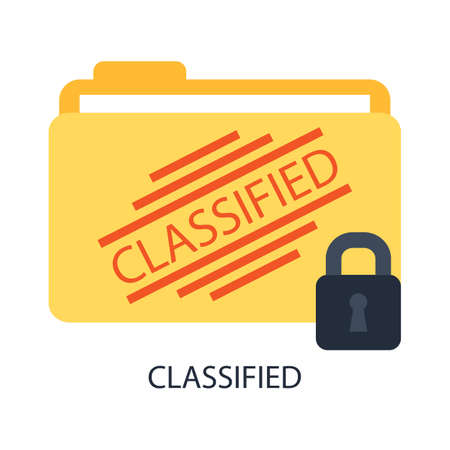 classified: A folder with classified files and a lock. Illustration