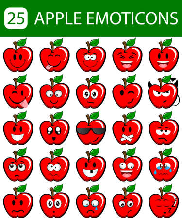 25 apple emoticons with different facial expressions Illustration