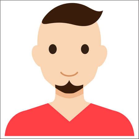 red haired person: A handsome man in a red T-shirt. Illustration