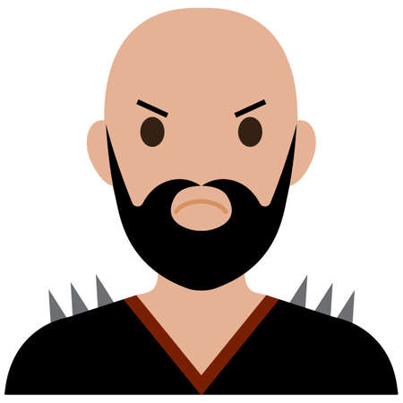 bearded: A bearded biker in a cool t-shirt.