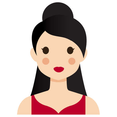 nice hair: A nice woman with dark hair in a red dress.