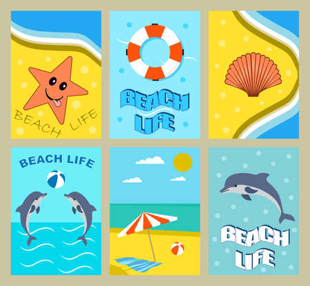 journal: set of bright summer cards. summer posters with dolphins,sea star,lifebuoy,shell,beach,sea and sun. Journal cards.