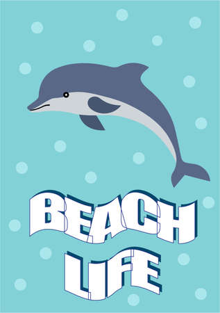 journal: summer poster of a dolphin in the sea with written text. Journal card.