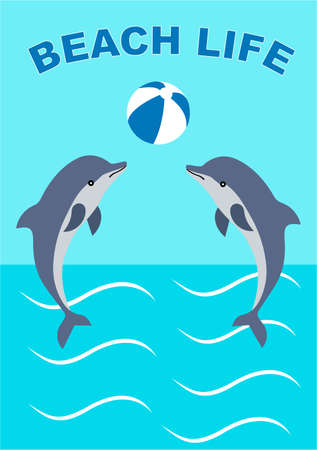 journal: illustration of two dolphins which play with a beach ball. Journal card.Summer card.
