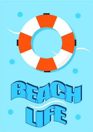 summer poster of a floating lifebuoy on the water. Journal card.